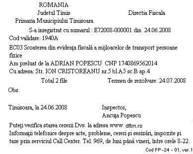 Fluturas Directia Fiscala a Municipiului Timisoara